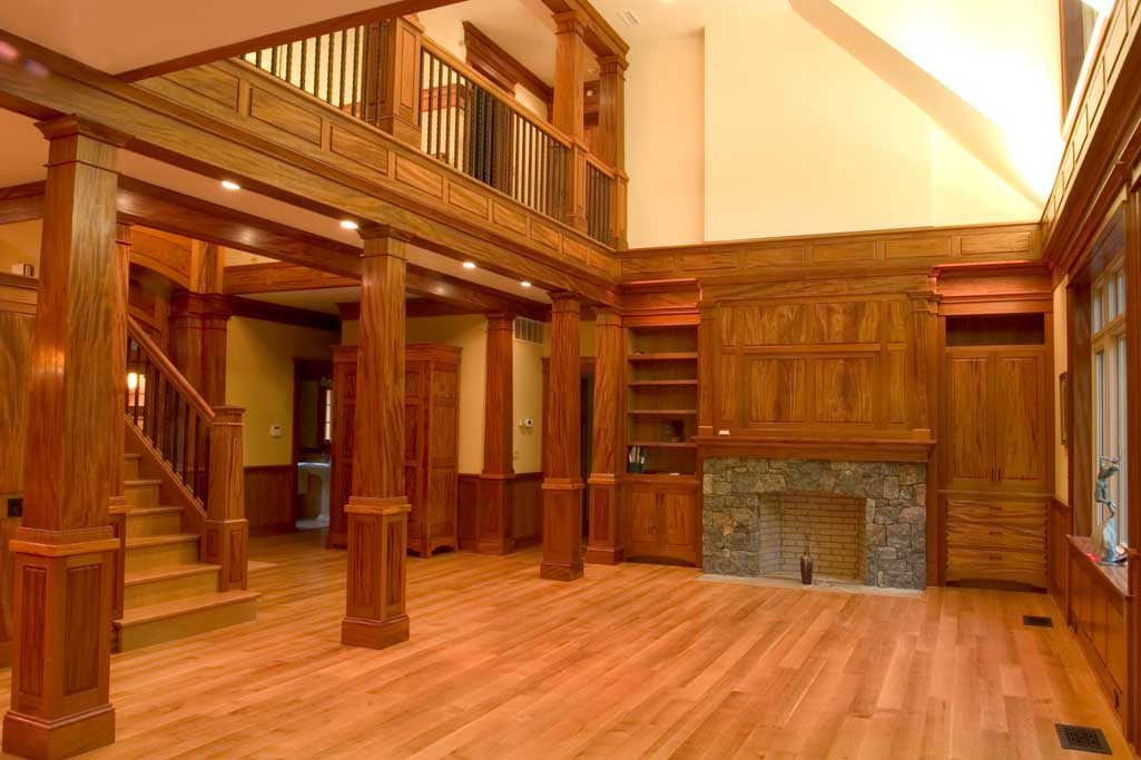 Quarterswan white oak floor and stair, everything else is mahogany in this great room. All panels are matched.