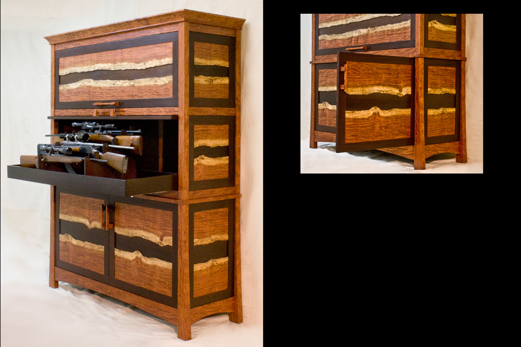 This bubinga and wenge gun cabinet used every bit of the beautiful bubinga slabs we cut if from. The light colored sapwood is usually waste, but we thought it should be featured and set off against the dark wenge. Guns slide out in presentation.