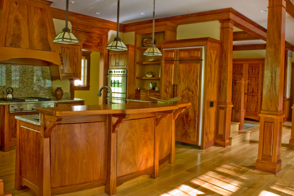 Artisan house kitchen in Mahogany. Our finest kitchen to date. Made from two log sets of mahogany, this is a one of a kind set of kitchen furniture.