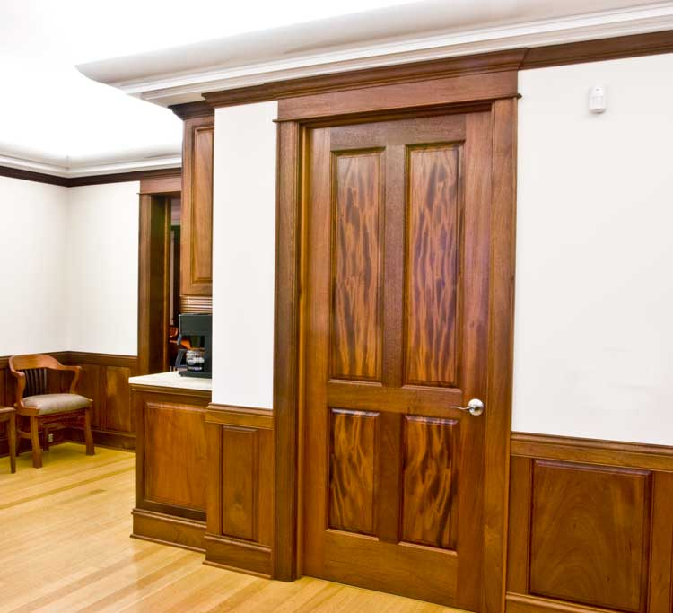 One of my favorite doors, this ribbon grained mahogany surely looks like flames and always draws my eye.