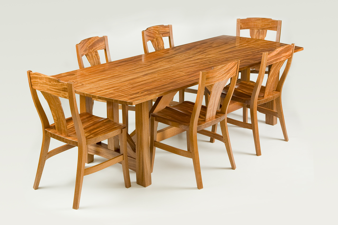 One incredible log of ribbon grain mahogany inspired this dining room table and chairs.