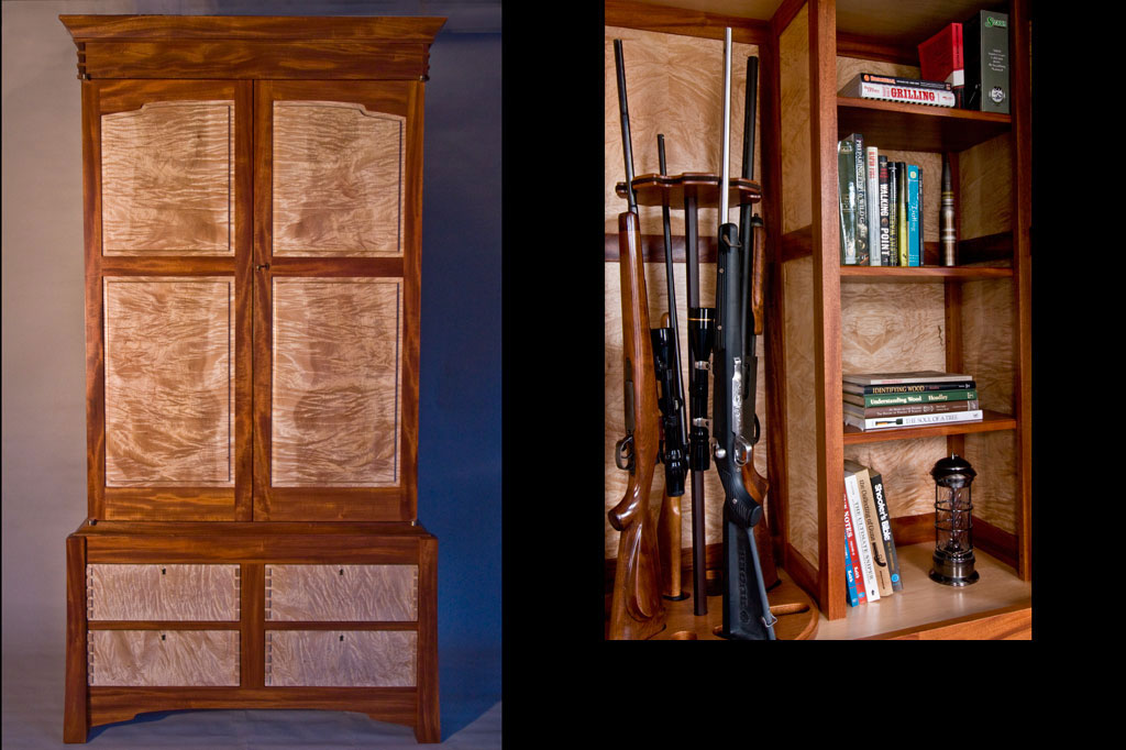 During the design and building of this gun cabinet for a client's daughter she asked if we could incorporate more than guns in the piece. Thus was born our first gun cabinet / bookcase / lingerie chest. The gun carousel is based on a musket barrel by a famous local gunsmith, Ed Rayl of Gassaway, WV.