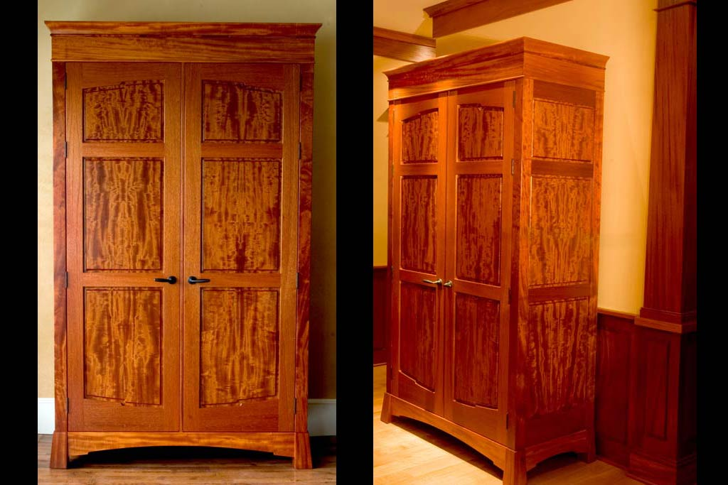 This armoire was made to serve as an entry coat closet, but could serve many functions. Inspired by a beautiful beeswing mahagony board we utilized for all the panels.